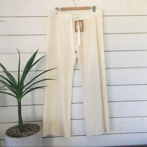 Cream velour pants